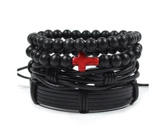 4 Pack Leather and Red Cross Bracelet Set