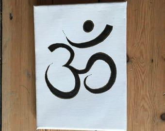 Hand-drawn 'Om' symbol on stretched canvas - 'The Sasha Board'