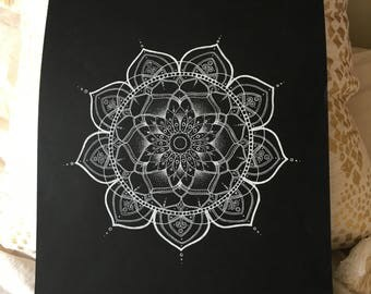 Hand-drawn white mandala on black card - 'The Charlotte Mandala'