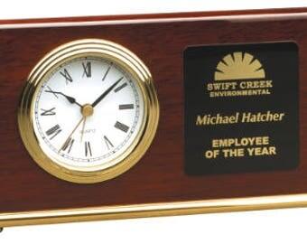 Rosewood Piano Finish Horizontal Desk Clock, Corporate Gift, Employee, Office Clock, Alarm Clock, Corporate Award, Teacher Gift