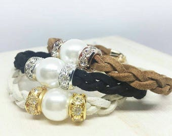 Braided Suede Leather Freshwater Pearl Bracelet