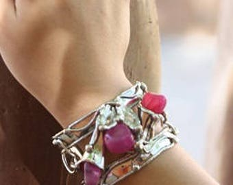 Alpaca Silver Bracelet with Pink Agate