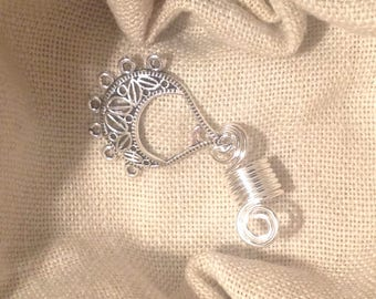 Silver large loc charm (braid)