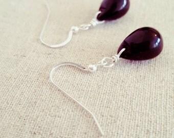 Black Drop Earrings • Black Dangle Earrings • Black Teardrop Earrings • Black Glass Drop Earrings • Black Earrings • Black Silver Earrings