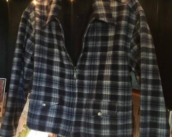 Vintage Blue Plaid Wool Jacket