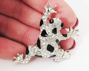 Small Silver Frog Brooch, Frog Brooch Pin, Small Black Toad Brooch, Silver Toad Brooch, Frog Brooch, Frog Jewellery, Frog Gift, Toad Pin