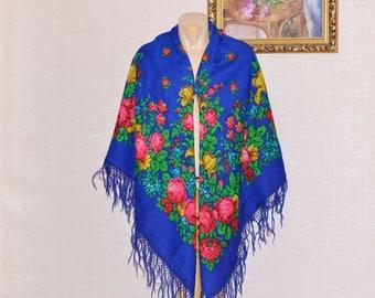 Cobalt blue Russian shawl Pavlovo Posad Russian shawl Vintage Russian scarf Babushka style Russian wool shawl Pavlovo Posad Russia folk shaw