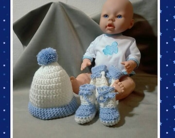 Premature baby gift or bit of cabbage is hand crocheted wool soft knit newborn bonnet booties mittens