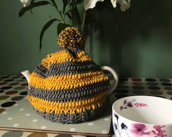 Handmade mustard yellow and grey crochet 3 cup teapot cozy with Pom Pom detail