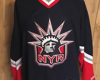 Vintage New York Rangers 1990s CCM Lady Liberty Home Hockey Jersey - nhl jersey - ccm hockey jersey - vintage jersey (2XL)