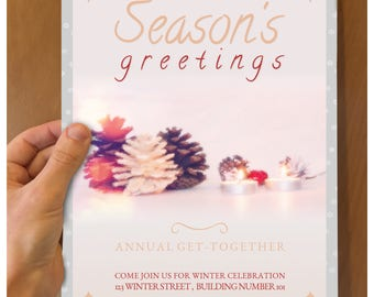 Season's greetings flyer for annual get-together. x-mas flyer with very little religious affiliation or imagery Neutral Winter holiday flyer