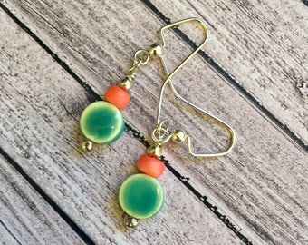 Free US shipping--Aqua and coral beaded earrings