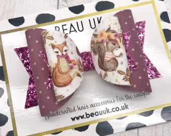 SALE The fox & the squirrel Large Dolly hair bow clip headband