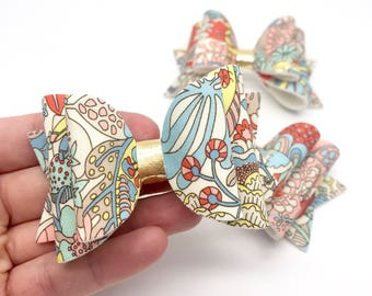 Liberty floral mushroom bunny fabric Medium hair bow clip headband hair accessories