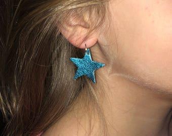 Mettalic Blue Leather Star Earrings