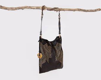 Black & Gold Soft Leather Tote Bag / Shoulder Bag