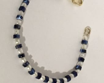Blue and White Pearl and Glass Bracelet