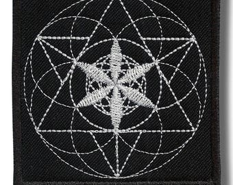 Sacred geometry - embroidered patch 8x8 cm