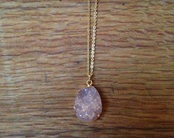 Druzy Necklace, Druzy Pendant, Pink Druzy Pendant, Gold Druzy Necklace, Gift Idea/ Valentine's Day Gift