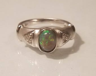 Vintage art deco 1 ctw black opal and diamond 18k white gold size 6