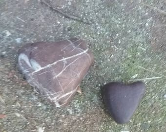 2 Heart Shaped Rocks *ALL NATURAL*