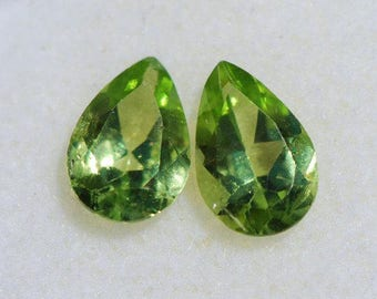 Pair of Peridot, Beautiful, Clean, Bright Green, Faceted Teardrop, Pear Shape,  9 x 6.mm, 2.4ct total weight