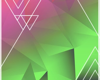 A4 Pink and Green Geometric Background