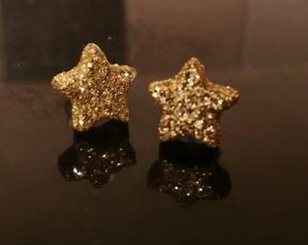 Gold Glitter Star Earrings - Plastic stems and backs