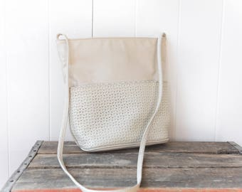 Vintage Cream-Off White Shoulder Purse // Cross Body Bag // Vintage Early 90's Purse with Weave Textured Front