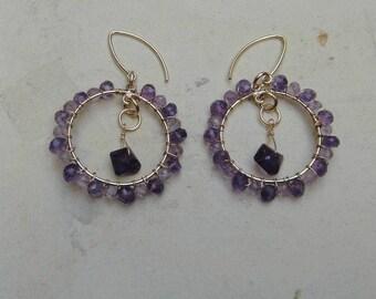 Amethyst Hoop Earrings.