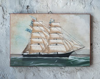 Sailing Ship - Seascapeon old wood