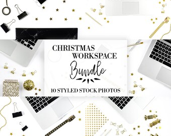 Christmas Workspace Collection | Bundle | Styled Stock Photography | Flat Lay Photo | Social Media Photo | Gold & White | Stationery