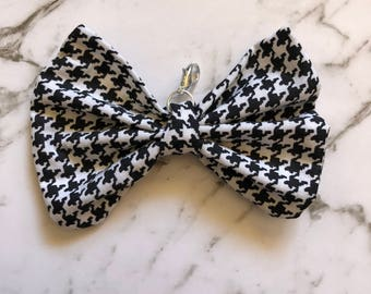 Houndstooth Bow Charm- Planner Bow- Keyring- Hairclip