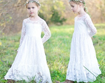 White Lace girl dress, flower girl dress, flower girl lace dresses, long sleeve dress, country lace dress,Rustic Lace dress