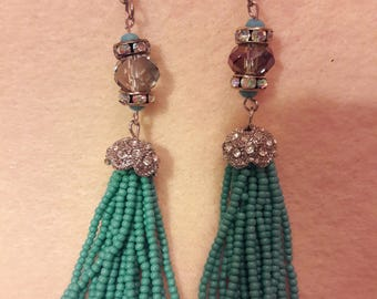 Earrings, tassel, long, dangle, teal, blue, fashion jewelry, for her, beaded, handmade, style, stylish  id#165