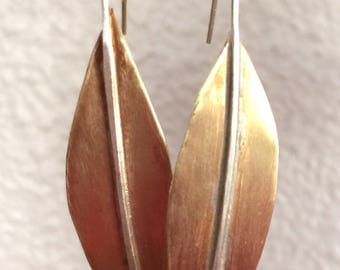 Red Brass Leaf Earrings with Sterling Silver Posts