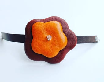 Gift for her. Leather bracelet ,leather flowers.Easter gift, Gift for women