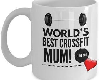 World's Best CROSSFIT MUM! White Coffee Mug, Crossfit Mum's Gift, Crossfit Mum's keepsake,Crossfit Mum's present.