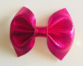 Metallic pink leather Bow