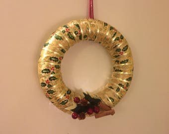 Gold, holly wreath 30cm diameter