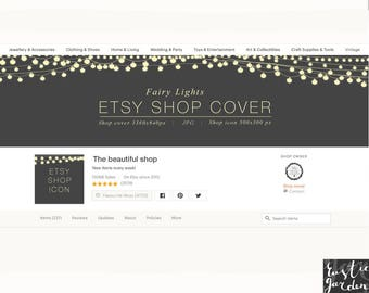 Fairy lights Etsy Shop premade design. Banner and icon with light bulbs. Styled stock image. Etsy shop cover and icon.