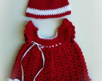 Red crochet baby girl dress
