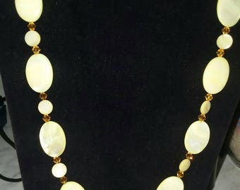 Yellow Mother of pearl necklace.