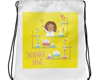 NAHLI Yellow Science Love Drawstring Bag