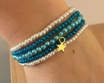 Blue and White Star beaded bracelet gold
