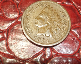 1 One Cent Penny Copper Coin USA Indian Head 1884.combined shipping