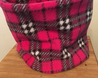 Pink and grey check neck warmer