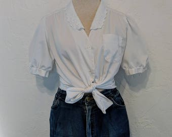 Vintage 1980s white Button-down Blouse