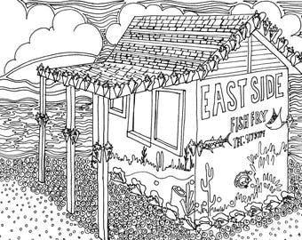 East End Fish Fry Coloring Page, Adult Coloring Printable, Coloring Pages for Adults, Cayman Life + Art, Print PDF Download