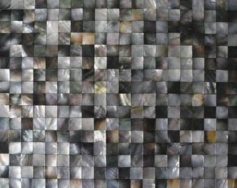 Black Mother of pearl shell tile backsplash MOP036 Groutless deep sea shell mosaic bathroom shower Mother of pearl wall tiles